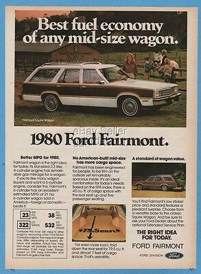 1980 Ford Fairmont Squire woody station wagon vintage photo print ad