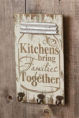 Country new Mason jar shaped wood wall plaque w/hooks / KITCHENS &FAMILIES