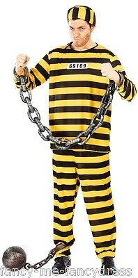 Mens Yellow American Prisoner Convict Halloween Fancy Dress Costume Outfit Large