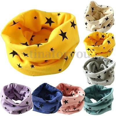 Kids Baby Girls Boy Cotton Snood Scarf Scarves Neckerchief Stars Print Neck Wrap