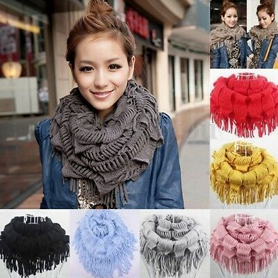 Womens Winter Warm Knitted Fringe Tassel Neck Circle Shawl Snood Scarf Cowl