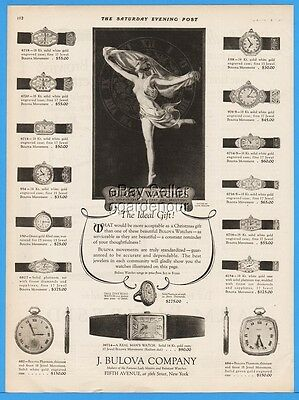 1922 Bulova Watch Co Wrist Pocket Watches Coles Phillips Naked Dancer Art Ad
