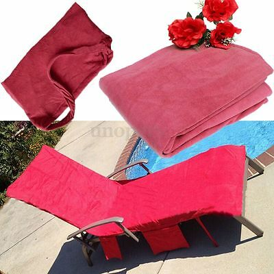 Sun Lounger Mate Beach Towel Carry With Pockets Bag For Holiday Garden Bath Pink