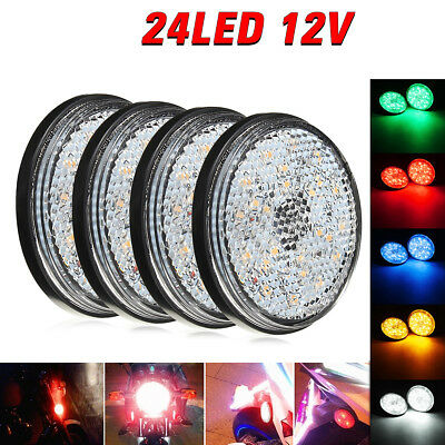 2x Universal Car Motorcycle Round Reflector LED Rear Tail Brake Stop Light Lamp