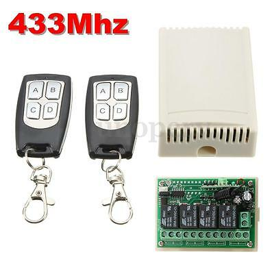 433Mhz 4CH Channel 200m Wireless Remote Control Relay Switch + 2 Transmitter 12V