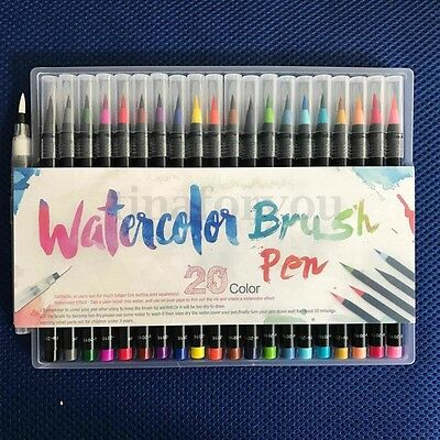 20-Color Pens Set Watercolor Drawing Painting Brush Artist Sketch Manga Marker