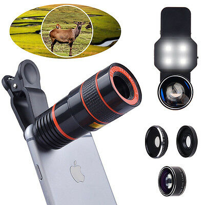 EEEKit 8X Zoom Telescope Lens+​Wide Angle Fish Eye Macro Len+LED Light for Phone
