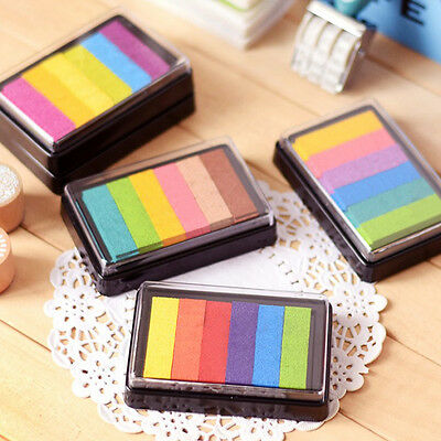 Rainbow Multicolor Ink Pad Oil Based for DIY Stamp Scrapbook Photo Album Craft