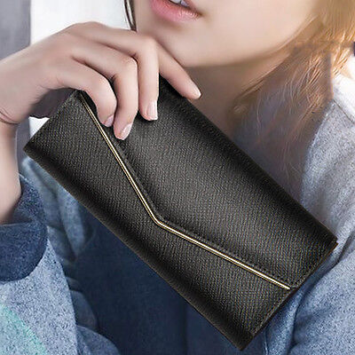 Black Women Clutch Long Envelope Leather Wallet Card Holder Handbag Phone Bag