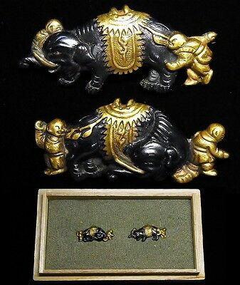 "Rare MENUKI 19th C Japanese Edo Antique Koshirae fitting ""Elephant"" d616"