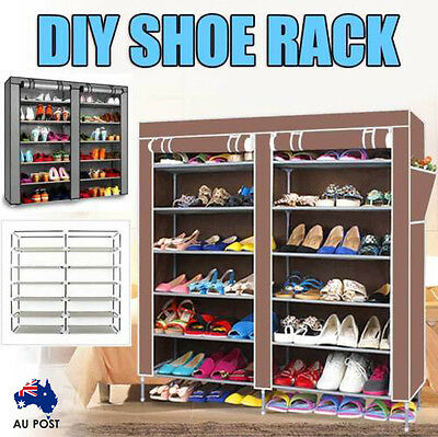 DIY 2 Doors Shoe Rack 7 Tier Cover Shoes Storage Cabinet Organizer Brown/SILVER
