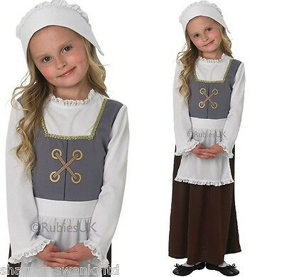 Girls Tudor Victorian Poor Peasant Maid Girl Book Day Fancy Dress Costume Outfit  sc 1 st  PicClick & CHILDS POOR VICTORIAN Girl Fancy Dress Costume u0026 Hat Girls Maid ...