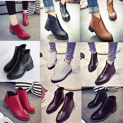 Fashion Women's Ladies Short Ankle Boots Zipper Low Heel Winter Chelsea Shoes