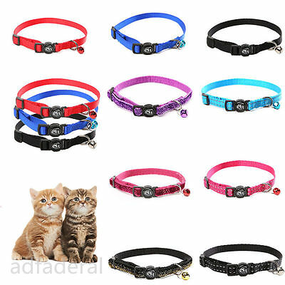 Adjustable Puppy Cat Kitty Rabbit Collar Safety Bell Bling Nylon Lead Leash Cute