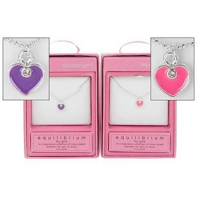 Girls Heart Pendant Necklace Pink or Purple Each Sold Individually