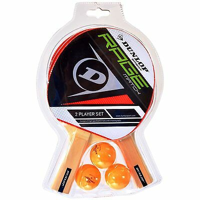 Dunlop Rage Match Two Player Table Tennis Ping Pong Set - 2 Bats and 3 Balls