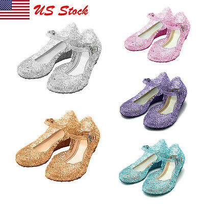 Baby Girls Jelly Princess Shoes Sandals Summer Crystal Cut out Flat Princess USA