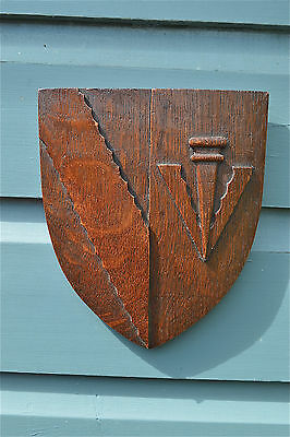 Original antique carved oak wall shield plaque Sidney Sussex 1596 coat of arms 1