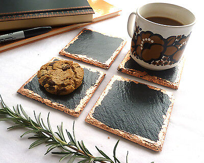 Slate & copper coasters, placemats, new home gift, housewarming, handmade UK
