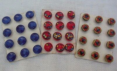 3 Vintage Antique Art Deco Glass Button Cards 3/8