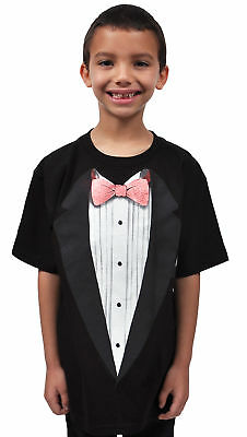 Youth Boys Cotton Black Tuxedo T-Shirt