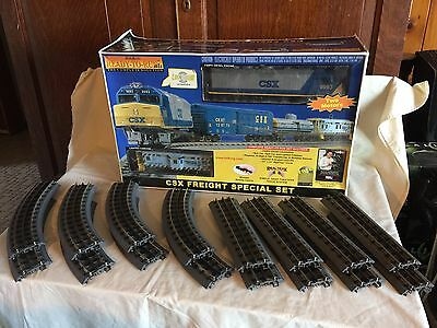MTH Rail King CSX FreIght Special Train Set F40PH Diesel Engine used Extra Track