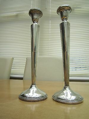 solid silver candlesticks marked sterling 10 inches tall