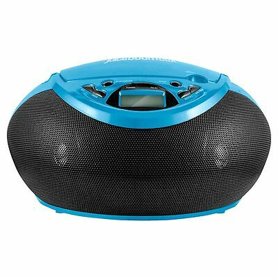 Juice Boombox Blue CD player With Built-in Radio Tuner And 3.5mm Audio Jack