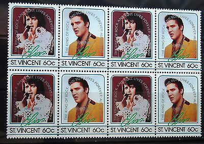 Elvis Presley St Vincent 1985 Block Of Eight 60c Stamps Two Designs Mint MNH