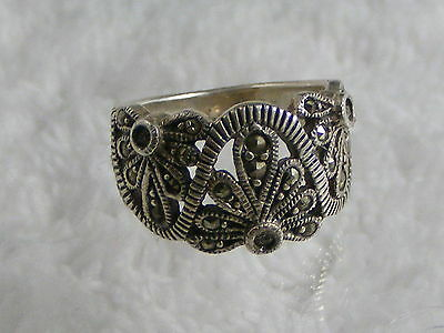 Vintage Sterling Silver Marcasite Ring - Size 8.5  (A3)