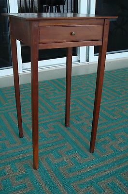 Antique Shaker Table 1 Drawer Early 19th c.Tapered Legs Dowels Tipton Indiana