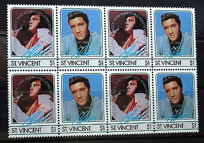 Elvis Presley St Vincent 1985 Block Of Eight $1 Stamps Two Designs Mint MNH
