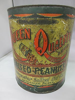 Vintage Queen Quality 10 Lb Salted Peanuts Tin Advertising Collectible   M-228
