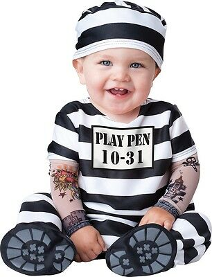 Baby Boys Girls Prisoner Convict Halloween Fancy Dress Costume Outfit 0-24 mths
