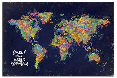 Colour Your World Beautiful Map Poster New - Maxi Size 36 x 24 Inch