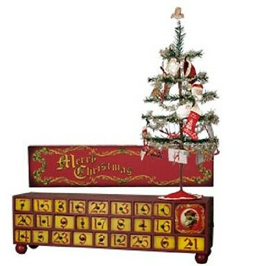 Vintage Merry Christmas Advent Box With Tree And Ornaments