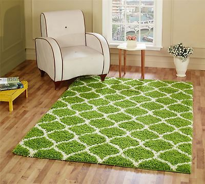 Large Modern Green Moroccan Trellis Shaggy Carpet Contemporary Area Rug 5CM
