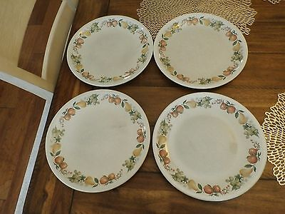 "Lot of 4 WEDGEWOOD QUINCE 10 1/2"" DINNER PLATES Fruit Design ENGLAND"
