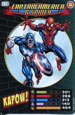 Spiderman Heroes And Villains Card #170 Captain America & Spidey