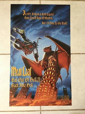 VERY RARE 1993 Meatloaf Promo Poster Bat Out Of Hell II Very Good Condition L@@K