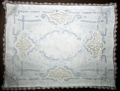 Antique Victorian Baby Infant Pillow Cover Lace Edging Boudoir Sham Battenberg
