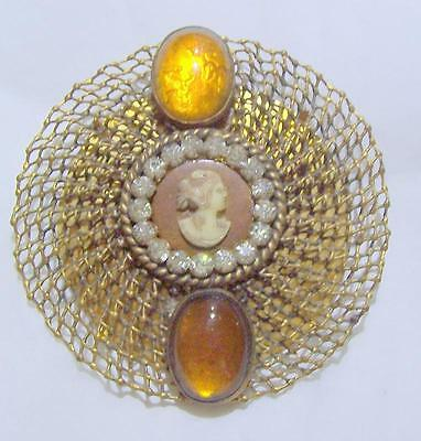 Early Cameo Openwork Design Brooch With Rhinestones