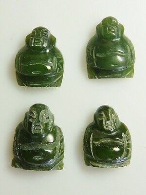 4 Carved Jade Buddha  22mm high top drilled for peg or pin . vintage years old