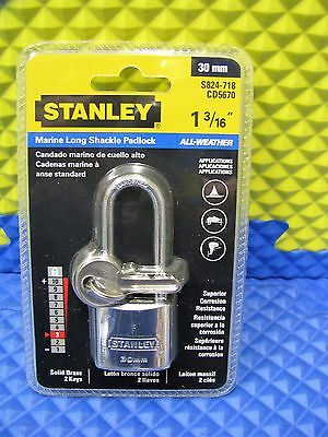 "Stanley 1-3/16"" 30mm Marine Long Shackle Padlock All-Weather S824-718"