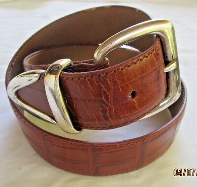 Womens FOSSIL Brown Croc Grain Leather Belt w/Silver Buckle, Loop and Tip Sz Sm
