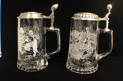 Set of Two (2) Domex Glass Beer Steins w/Pewter Lids (NFL & Sports Theme)