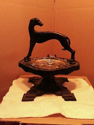 Vtg Cast Iron Great Dane Ashtray