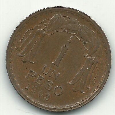 A  High Grade Xf/au 1942 So Chile I One Peso Coin-May342