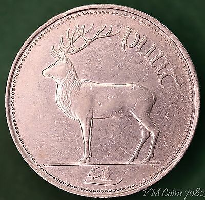 2000 Irish punt £1 one pound EIRE nice coin with stag *[7082]