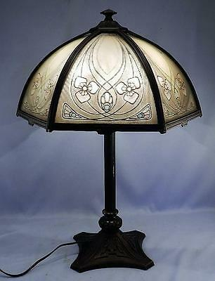Antique Bradley Hubbard Arts & Crafts Reverse Painted Slag Glass Lamp~VGC